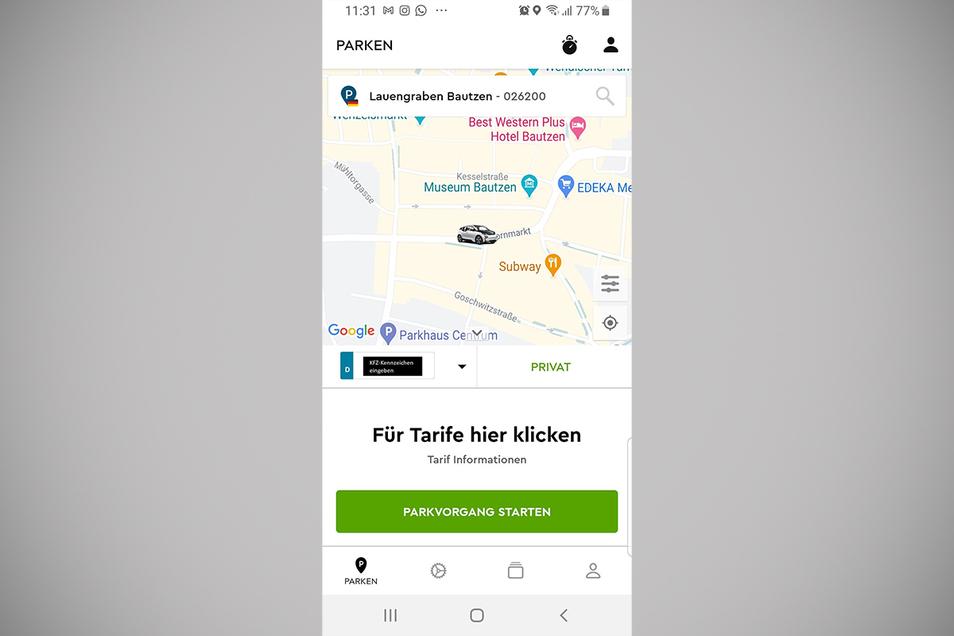 """So sieht das bei der App """"ParkNow"""" aus: Oben ist zu sehen, wie der Parkplatz angewählt wird. Links wird das Kennzeichen eingegeben. Unten: So wird der Parkvorgang gestartet."""