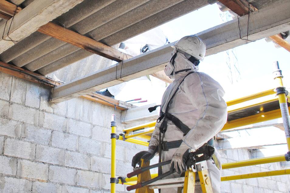 Für die Beseitigung von Bauschadstoffen wie Asbest sind besondere Schutzmaßnahmen erforderlich.