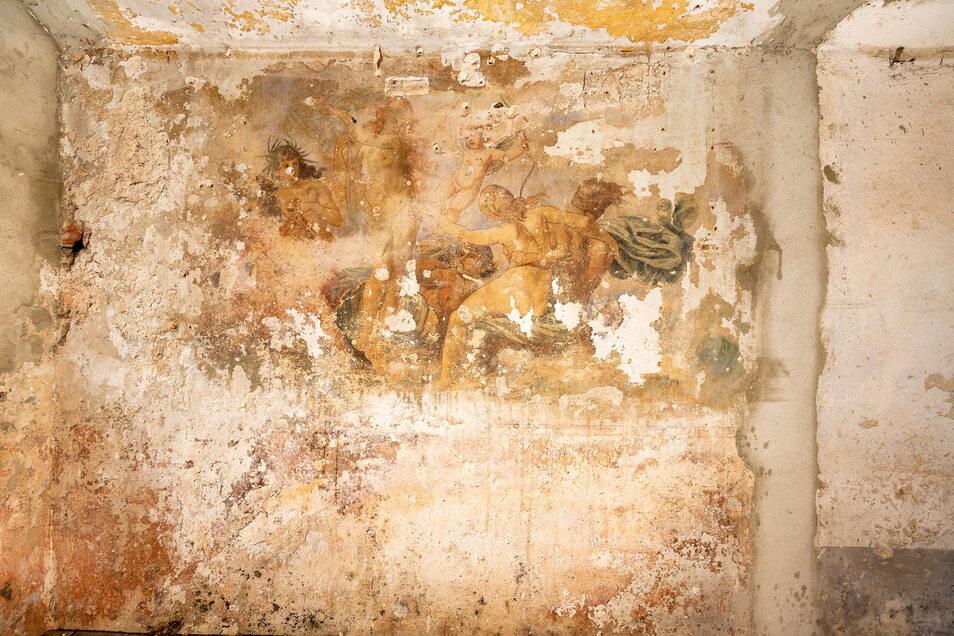 Diese Wandmalerei fand sich in einem nassen Kellerraum. Die Restaurierung würde 30.000 Euro kosten.