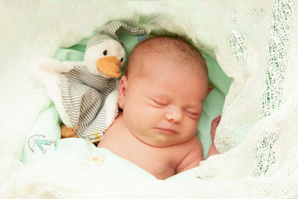 Madita Hahn, geboren am 6. Juli, Geburtsort: Universitätsklinikum Dresden, Gewicht: 3.740 Gramm, Größe: 52 Zentimeter, Eltern: Elisabeth und Valentin Hahn, Wohnort: Dresden
