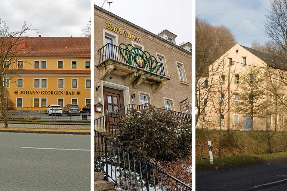 Haus des Gastes, Rathaus Berggießhübel, Mafago: Drei Gebäude, die manches verbindet, auch dass sie eine Lösung brauchen.