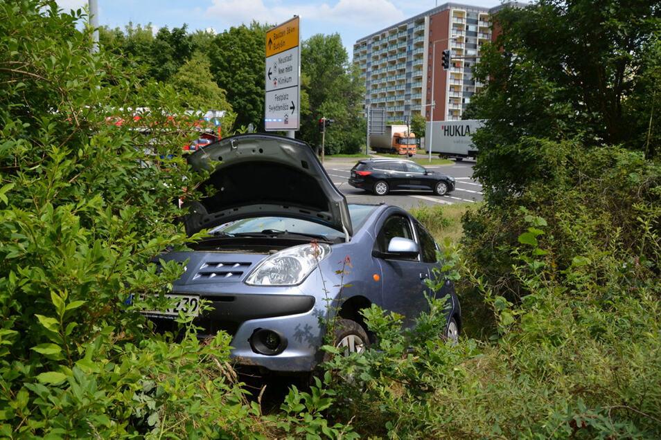 Mit ihrem Auto im Gebüsch ist eine Autofahrerin gelandet.