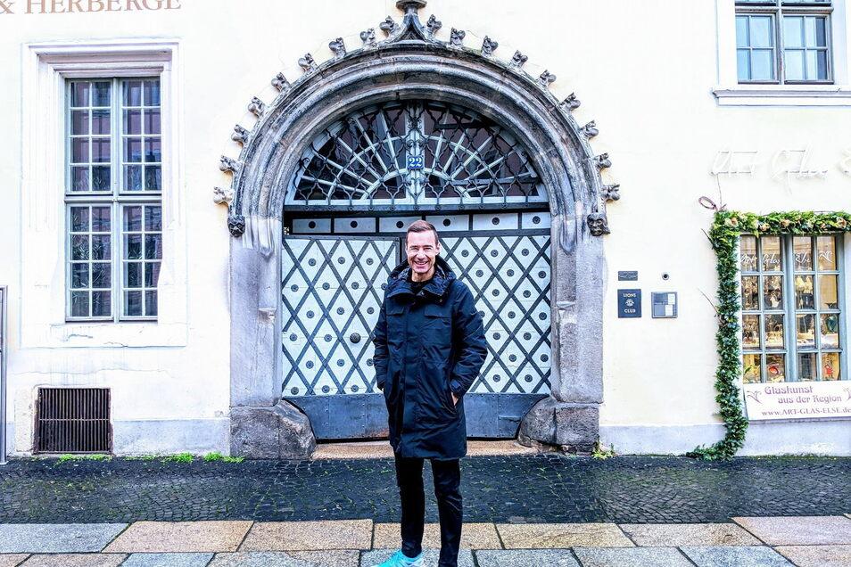 Moderator Kai Pflaume postete 2018 Fotos von seinem ersten Görlitz-Besuch – hier vor dem Flüsterbogen.
