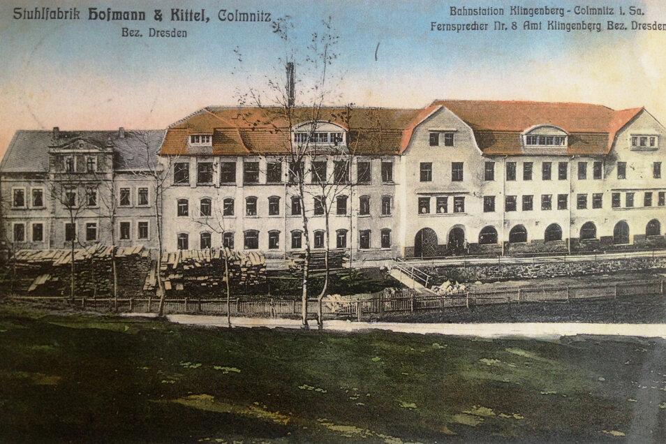 Glanz früherer Tage: Diese historische Postkarte, gestempelt 1912, zeigt die ehemalige Stuhl- und Möbelfabrik.