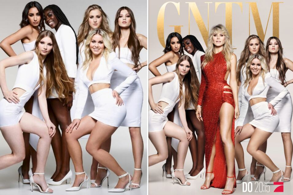 Zuerst posierten Romy (links vorn) und die anderen Topmodel-Anwärterinnen noch ohne Heidi Klum. Später hatte sich die Modelmama in das Foto montieren lassen, mit dem für die Pro7-Modelshow geworben wird (rechts).