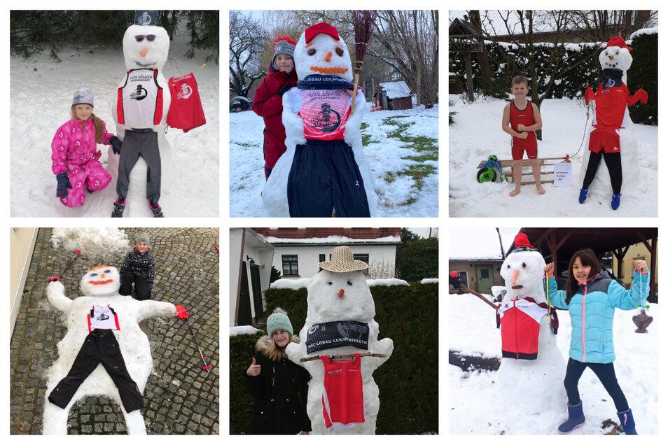 Sechs Schneemänner, die Kinder vom OSC Löbau bauten.
