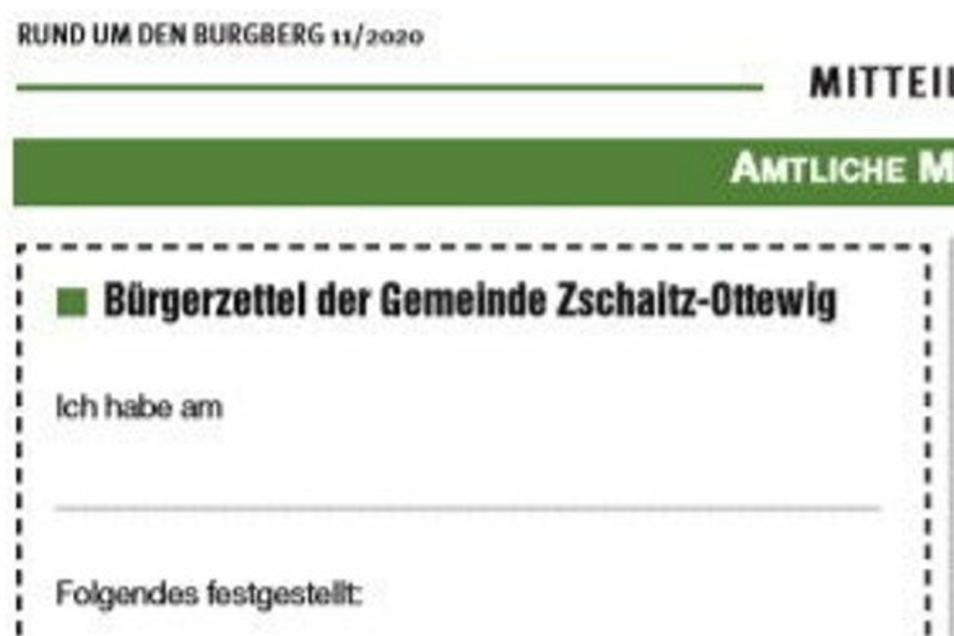 Dieser Meldezettel ist im Zschaitz-Ottewiger Amtsblatt abgedruckt. Er findet jedoch nicht bei allen Bürgern Anklang.