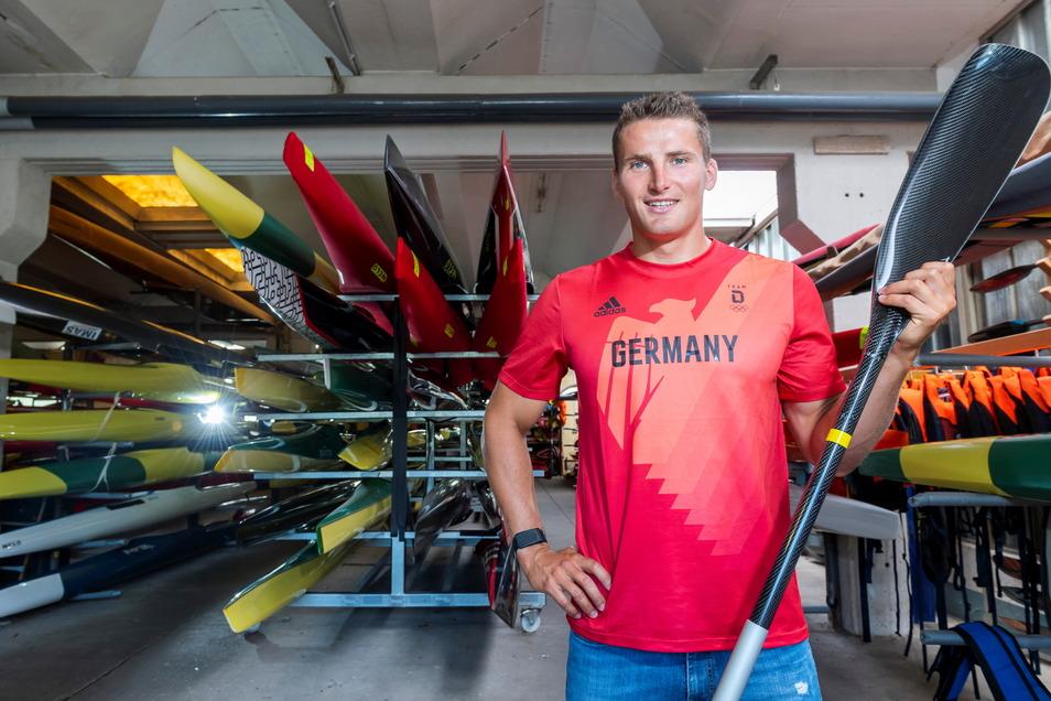 Hier ist sein zweites Zuhause: Das Bootshaus des KC Dresden sieht Tom Liebscher nun für einige Wochen nicht.