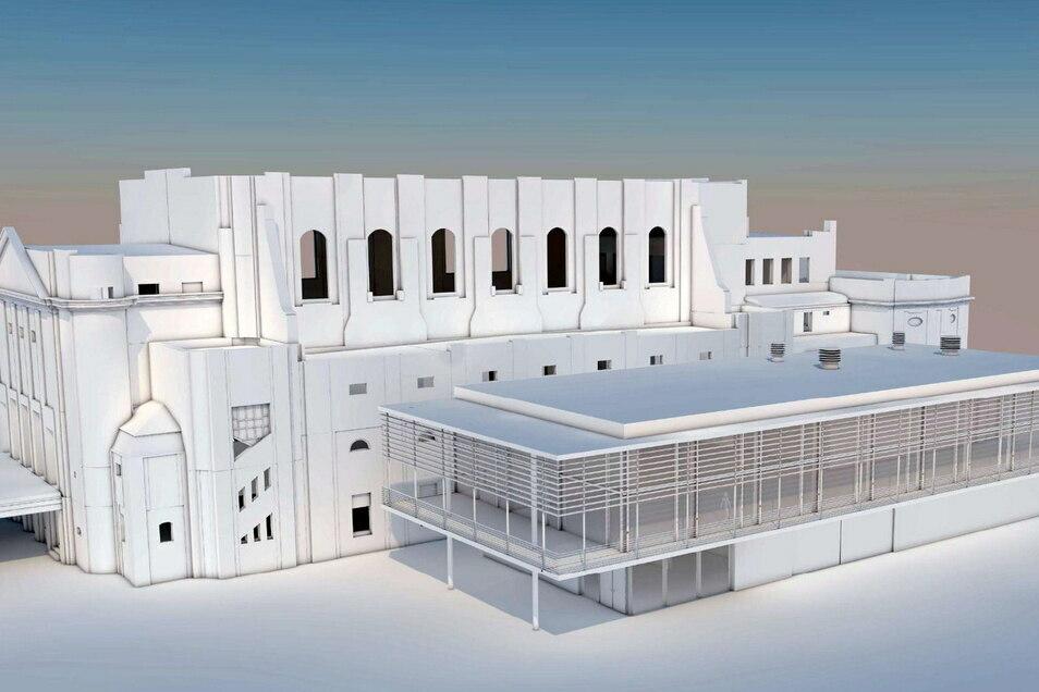 So sieht die aktuelle Variante für den Stadthallen-Anbau aus.