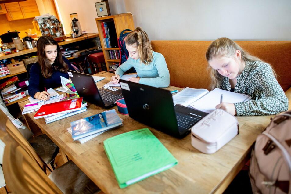 Das Lernen am heimischen Küchentisch stellt Familien auch vor technische Herausforderungen. Immerhin können im Landkreis Bautzen mobile Endgeräte inzwischen an den meisten Schulen ausgeliehen werden.