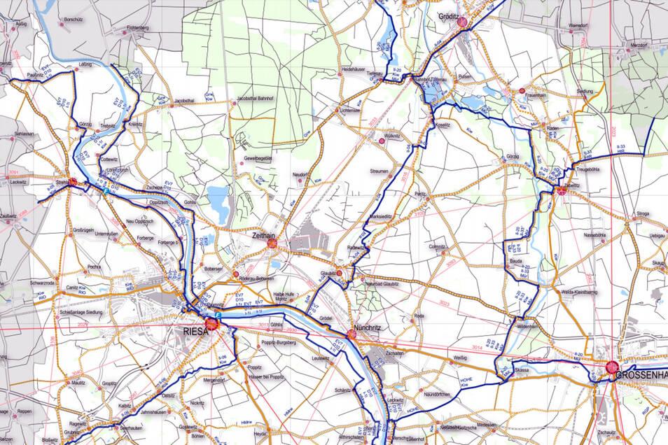 Ein Auszug aus dem Entwurf des Radverkehrskonzeptes des Kreises Meißen: Die Karte zeigt das Alltagsradwegenetz in der Region. Rot: Luftlinien zwischen zentralen Orten. Die durchgezogenen gelben Linien sind reale Wege, die Mittelzentren verbinden. Die gelb