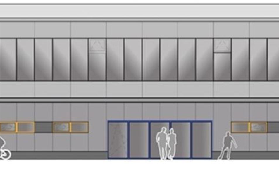 So soll die Fassade der Sporthalle in Weißenberg bald aussehen. Die Sanierung soll im August beginnen.