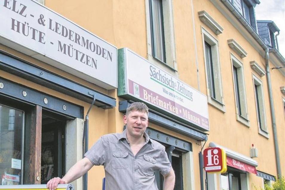 Meißner Straße 88: Lars Bellmann verkauft hier Zeitschriften, Münzen, Lottoscheine und Schreibwaren. In das Haus hat er in den letzten Jahren viel investiert, nachdem er es 1999 erworben hatte.
