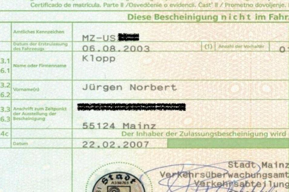 Diese Zulassung bestätigt den früheren Inhaber: Jürgen Norbert Klopp.