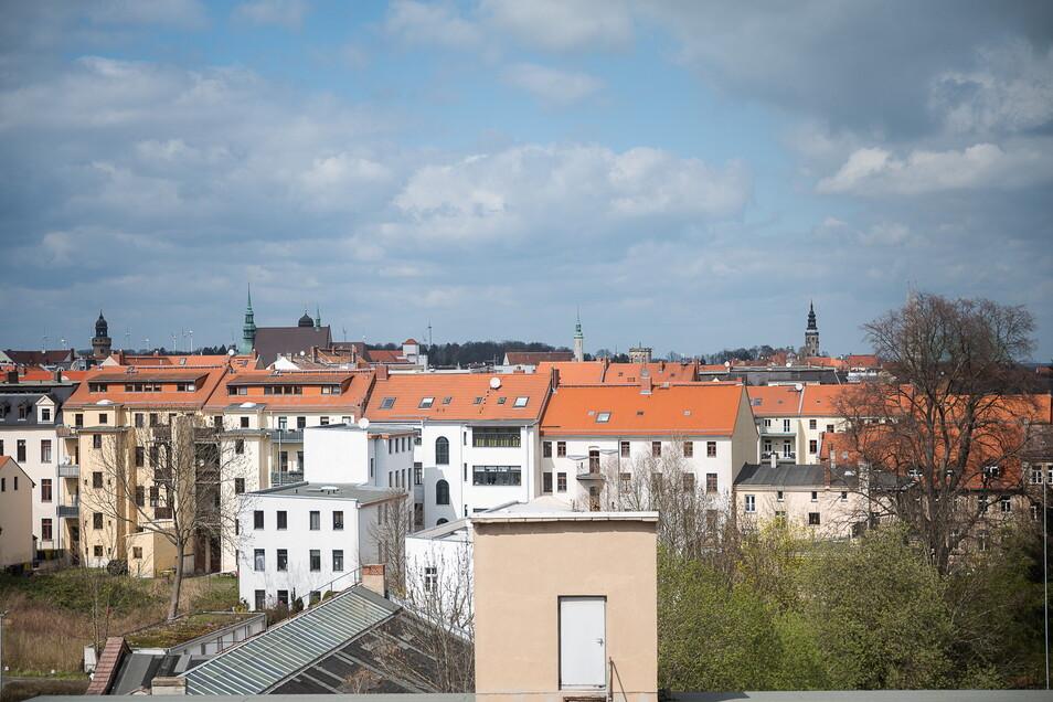 Von den oberen Etagen hat man einen guten Ausblick nach Norden in Richtung Altstadt.