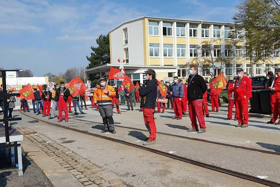 So sah der IG-Metall-Protest am Mittwoch bei Alstom aus.