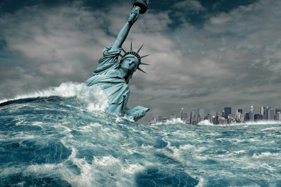 Sieht so das Jahr 2084 aus? Die Freiheitsstatue vor New York versinkt in den Fluten.