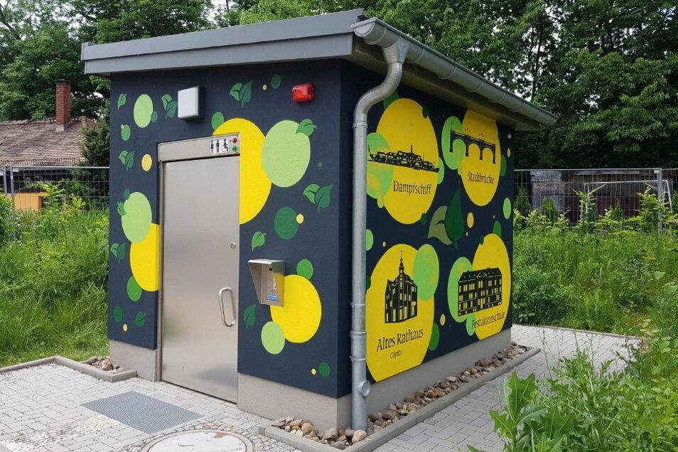 Angeleitet von Eok73 wurde diese öffentliche Toilette an der Hauptstraße in Pirna Copitz von einer Gruppe Jugendlicher besprüht.