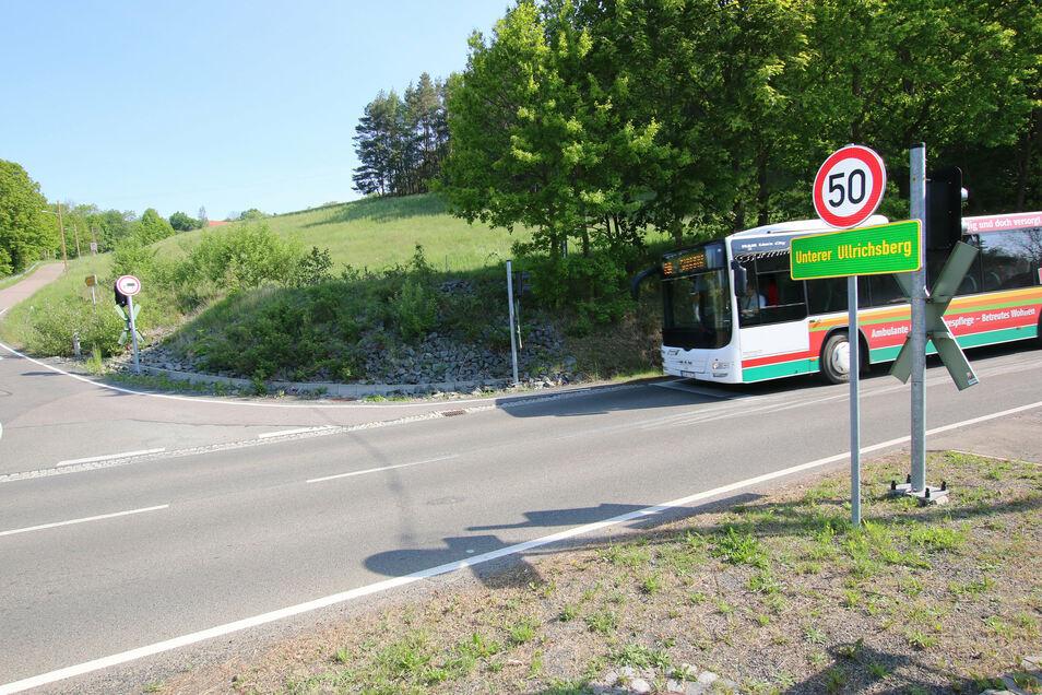 Zwischen Bushaltestelle und den Häusern auf dem Ullrichsberg fehlt ein Fußweg. Der soll vor allem zum Schutz von Schulkindern angelegt werden.