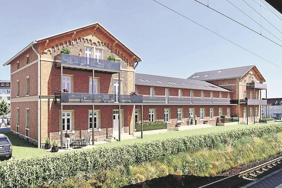 So soll der Bahnhof 2021 nach der Sanierung und dem Umbau von der Seite der Gleise aussehen.