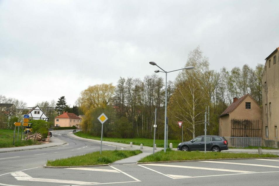 Auf der rechten Seite Ecke Löbauer und Weißenberger Straße sollen 45 Arten insektenfreundlicher Wiesenpflanzen ausgesät werden.