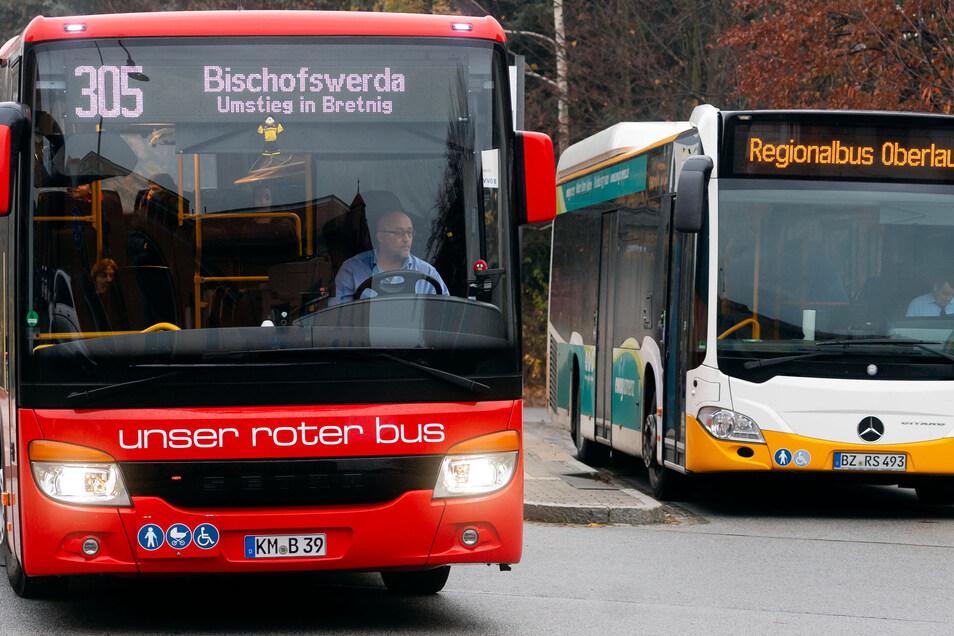 Vom Radeberger Bahnhof fährt die PlusBus-Linie 305 nach Bischofswerda