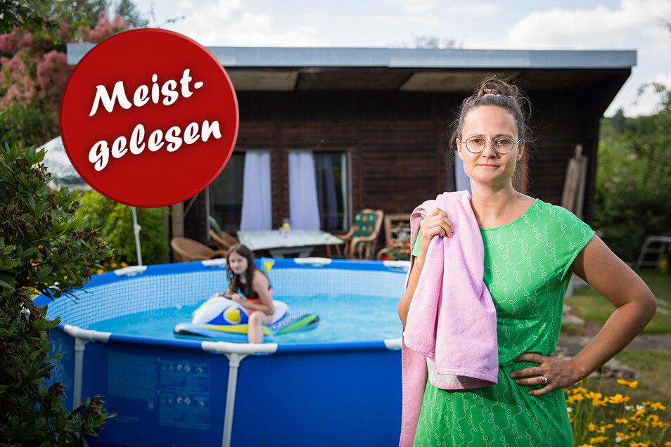 Carolin will ihren gerade gekauften Pool nicht einfach kampflos wieder abbauen.