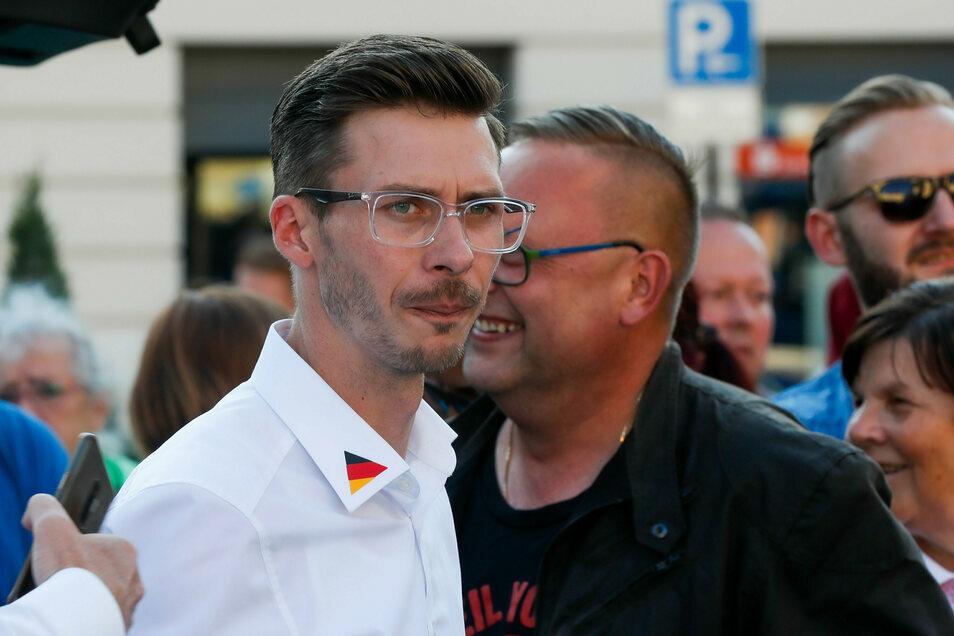 Mario Kumpf bei der Kundgebung auf dem Löbauer Altmarkt im Juli 2020.