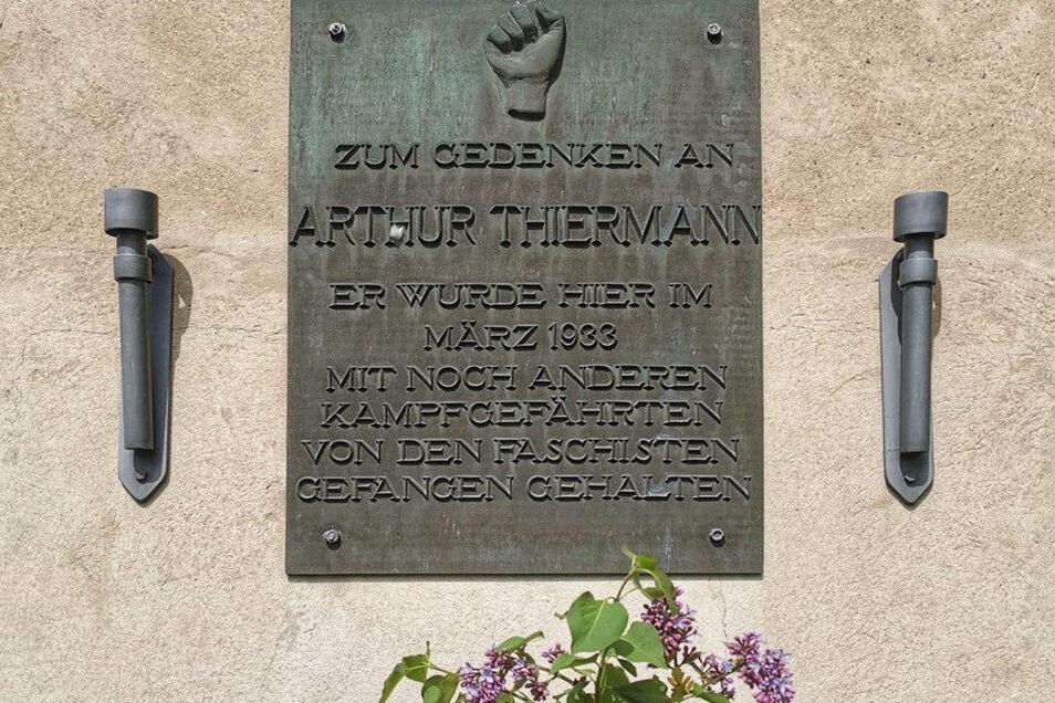 Gedenkplatz für Arthur Thiermann in Pirna.