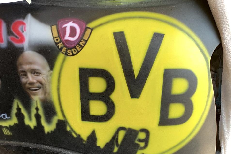 Auch Matthias Sammer und das Dynamo-Logo haben einen Platz auf dem Auto gefunden.