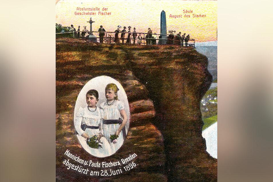 Ausschnitt der farbigen Postkarte mit dem Porträt der beiden Fischer-Mädchen, die der Liliensteinwirt Bergmann in Auftrag gegeben hatte, um an das Unglück von 1896 zu erinnern.