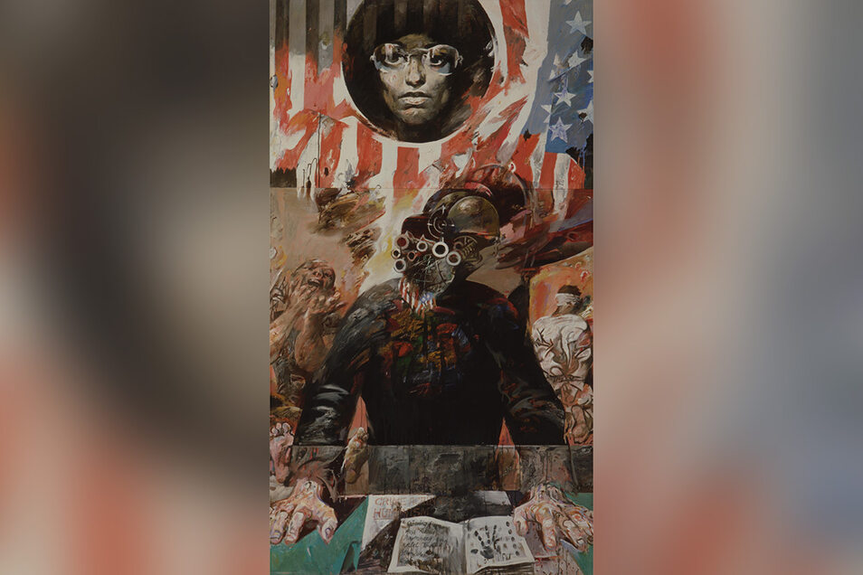 """Porträts von Angela Davis waren auf der VII. Kunstausstellung der DDR zu sehen. Willi Sitte malte das großformatige Bild """"Angela Davis und ihre Richter"""" 1971. Es befindet sich in Privatbesitz."""