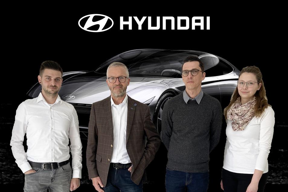 Das Hyundai Team der Winter Automobilpartner Verkaufsleiter Tom Heinzelmann, Serviceleiter Andy Raak, Serviceassistentin Maria Klinner, sowie Geschäftsführer Heiko Winter (2.v.l.)