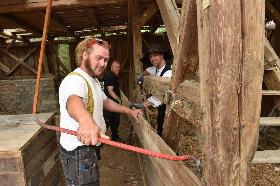 Teil für Teil trugen im Sommer Kay Arnswald (r.), Enrico Sauer (vorn) und Markus Dachsel die historische Scheune in Bärenstein ab.