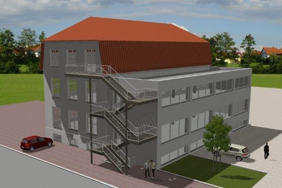 Grafische Darstellung vom Neubau mit Dachterrasse.