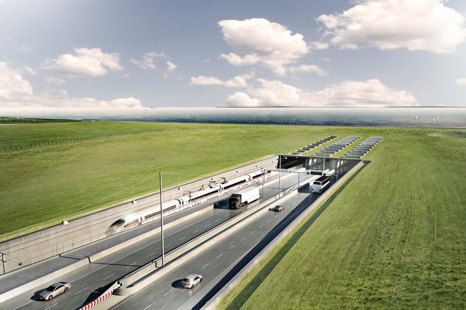 Eine Visualisierung des geplanten Fehmarnbelt-Tunnels zwischen Deutschland und Dänemark mit dem Tunneleingang auf dänischer Seite bei Rodbyhavn. Der 18 Kilometer lange Tunnel unter der Ostsee soll Fehmarn und Lolland miteinander verbinden.