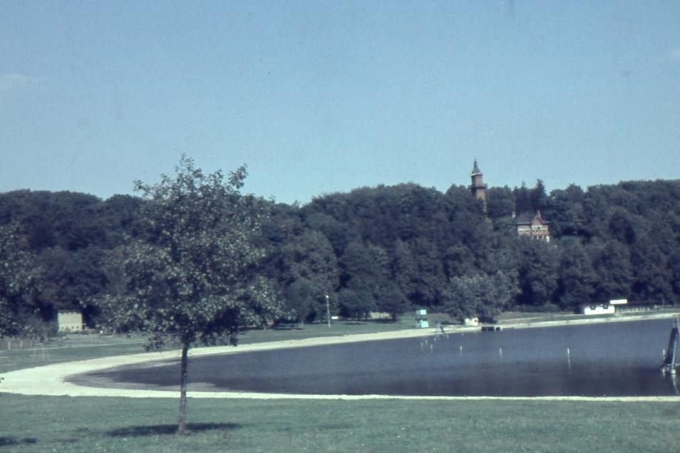 Auf dem Bild von 1970 sind Weinberghaus und -turm noch deutlich erkennbar ...
