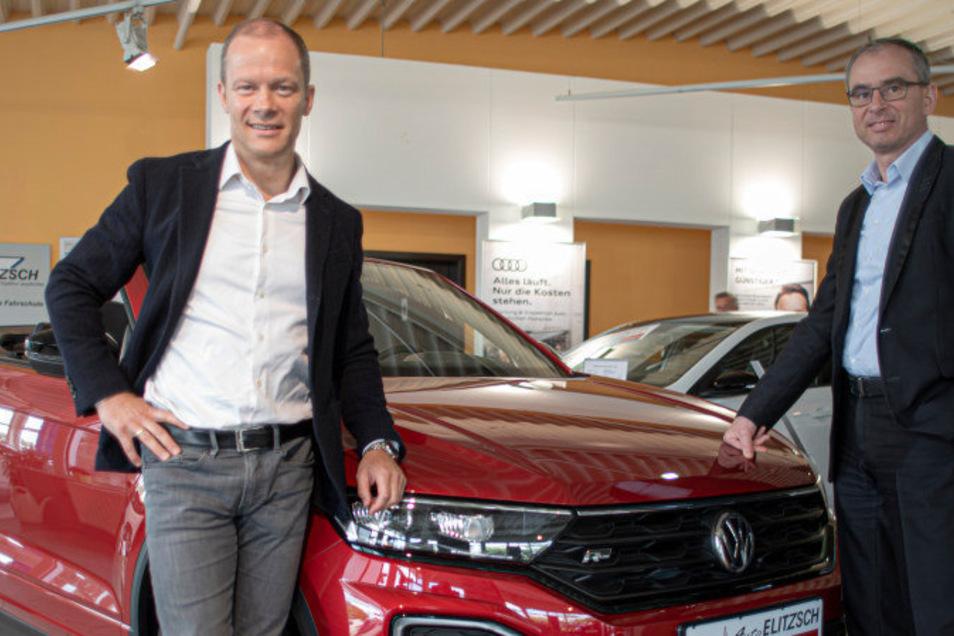 Führen die Unternehmensgruppe Elitzsch aus Kamenz seit 2012 gemeinsam: Thomas Elitzsch (l.) und Uwe Simmang.
