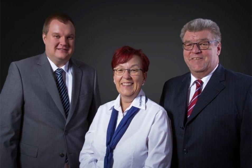 Das Führungs-Trio der Elblandschwestern: Inhaberin Kerstin Brunner-Haak (M.), Michael Bloeß (l.) und Jörg Dietz.