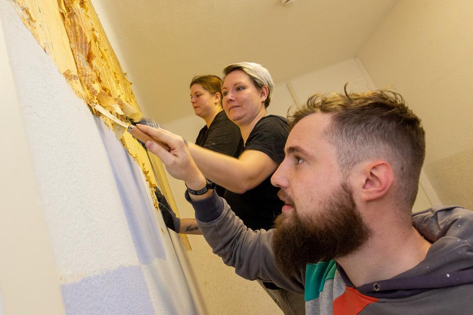 Der Hort der Grundschule in Pirna-Zehista wird neu gestaltet. Mitarbeiter der Firma 1st Mould packen mit an. William Barthold, Carolin Böttcher und Doreen Kretschmar (von vorne nach hinten) entfernen mit Spachteln die alte Tapete von der Wand.