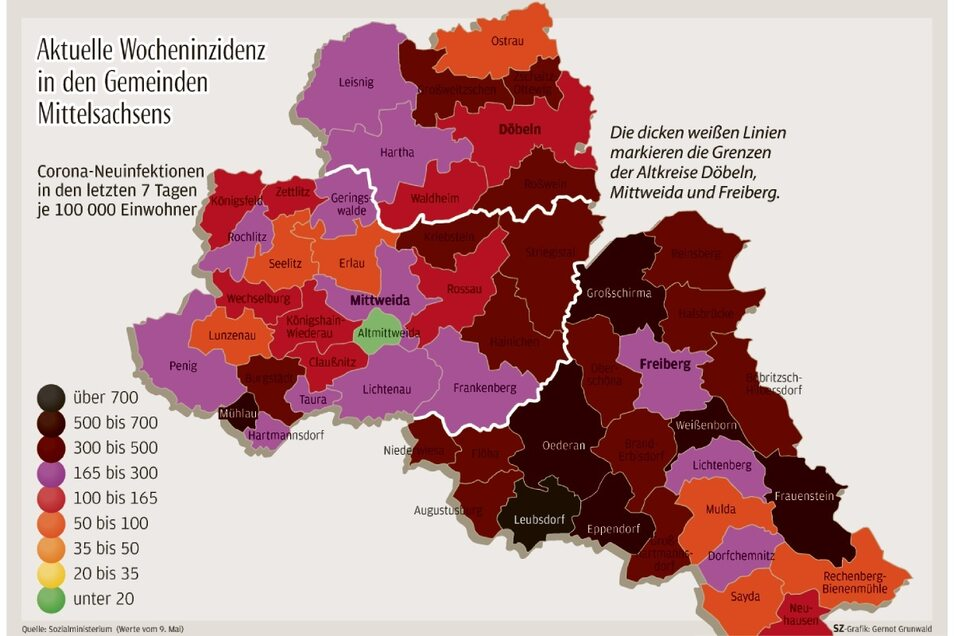 So sehen die derzeitigen Inzidenz-Zahlen in den drei Altkreisen aus. Während rund um Freiberg die Inzidenzen sehr hoch sind, sieht es in Mittweida und Döbeln anders aus.