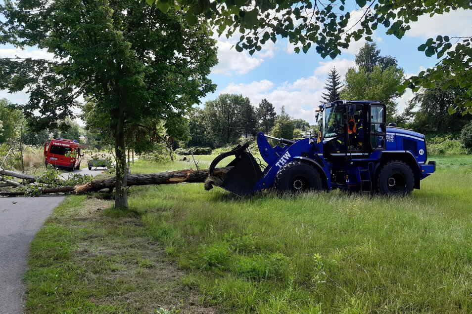 Christian Winkler vom THW Döbeln zieht mit dem Radlader einen Teil des Baumstamms auf eine Wiese.