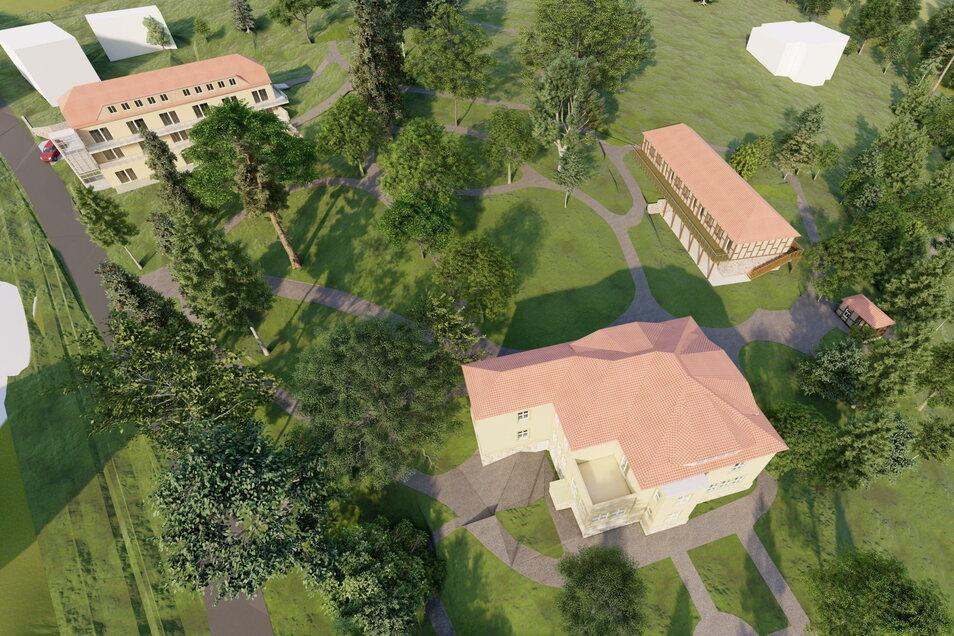 So könnte das Areal Burggässchen 10 in Sebnitz aussehen: Vorn die Villa, rechts dahinter der flache Neubau, oben links der 3,5-Geschosser.