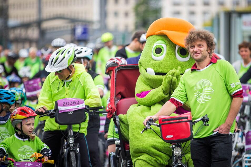 Das Maskottchen Kruschel ist auch in diesem Jahr der Namensgeber der Fünf-Kilometer-Tour durch Dresden.