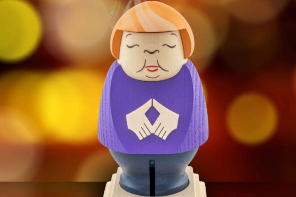 Bundeskanzlerin Angela Merkel gibt es nun als Räucherfigur aus dem Erzgebirge.