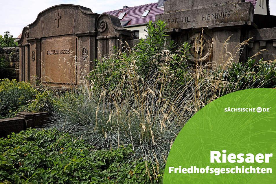 Entlang der nördlichen Friedhofsmauer in Altriesa befindet sich der Großteil der historisch bedeutsamen Gräber.