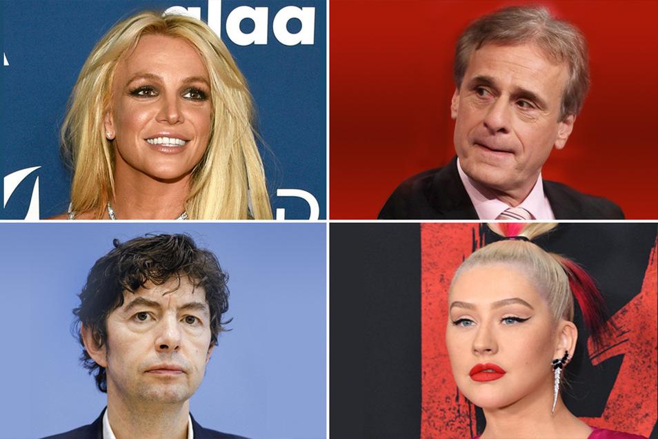 Derzeit groß im Rampenlicht: Sängerin Britney Spears, Virologe Alexander Kekule, Virologe Christian Drosten und Popsängerin Christina Aguilera (v. l. o. n. r. u.)