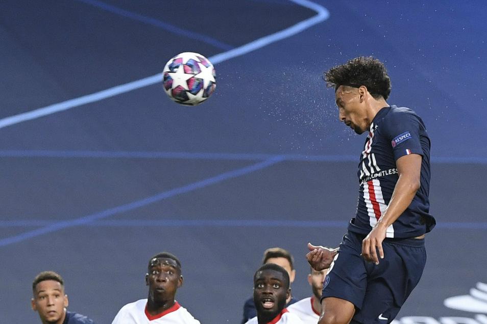 Das erste Tor: Marquinhos trifft für Paris Saint-Germain und leitet den Anfang vom Ende für RB Leipzig ein.
