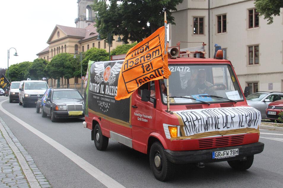 In Bautzen endete die Auto-Karawane.
