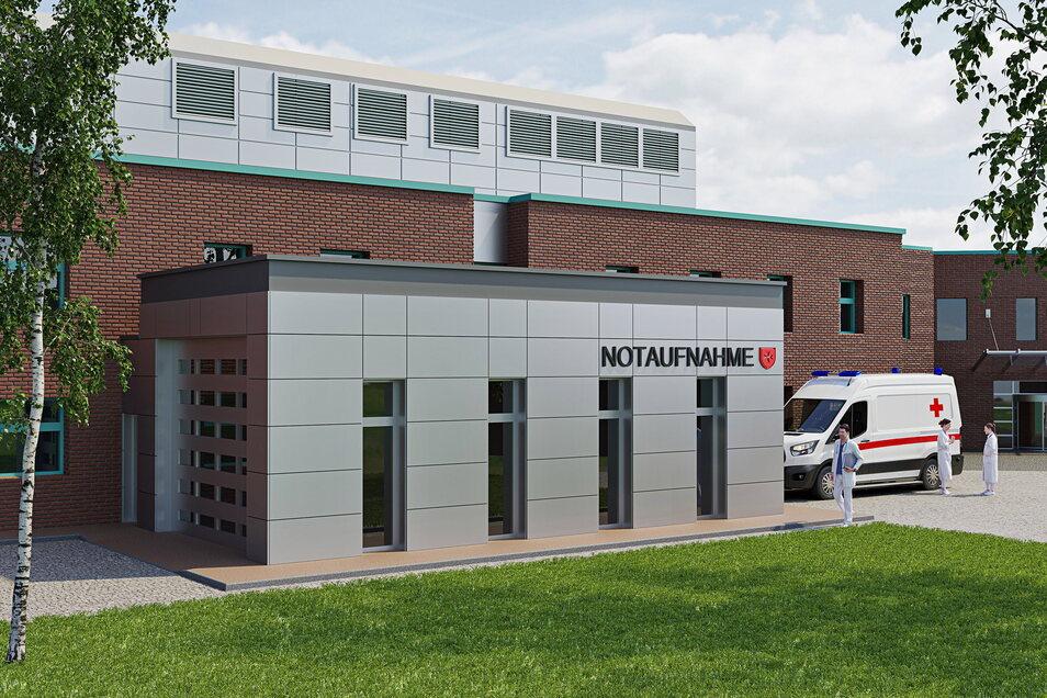 So soll der Vorbau einmal aussehen, in den die Rettungswagen hineinfahren können, um die Patienten vor Wetter geschützt ins Krankenhaus zu bringen.